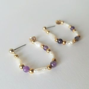 Freshwater Pearl Gold Amethyst Purple Earrings
